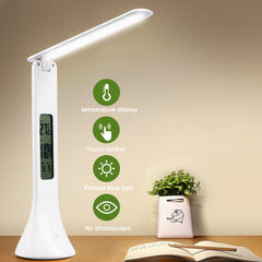 DIDIHOU LED Desk Lamp Foldable Dimmable Touch Table Lamp with Calendar Temperature Alarm Clock table Light night lights