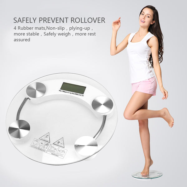 Hot Selling Liquid Crystal Electronic Scale Intelligent Round Digital Tempered Glass 26CM Human Body Scale Can Be Called 150kg