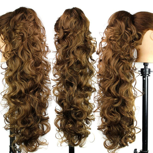 Long Curly Ponytail Wig Synthetic Women Claw on Clip in Hair Extensions Hairpiece WH998