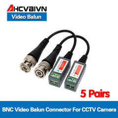 10pcs/5 Pairs ABS Plastic CCTV Video Balun CCTV Accessories Passive Transceivers 2000ft Distance UTP Balun BNC Cable CAT5 Cable