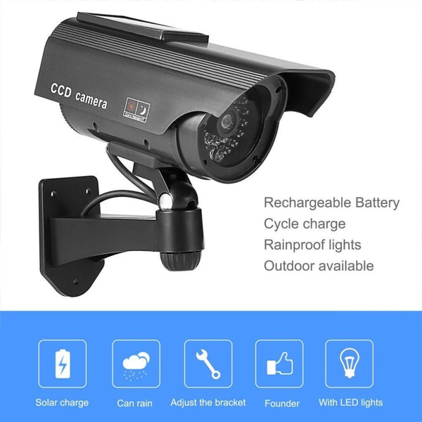 Dummy Solar CCTV Camera High Simulation Fake Camera  Led Red Light Flashing Outdoor Home Security Surveillance Camera