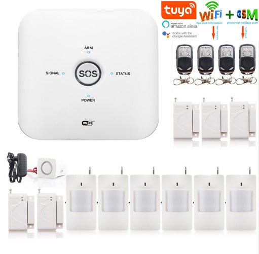 SmartYIBA Tuya WIFI Alarm System Sensors kits For Amazon Alexa and Google Assistant Low Battery Alert GSM Alarmes Security