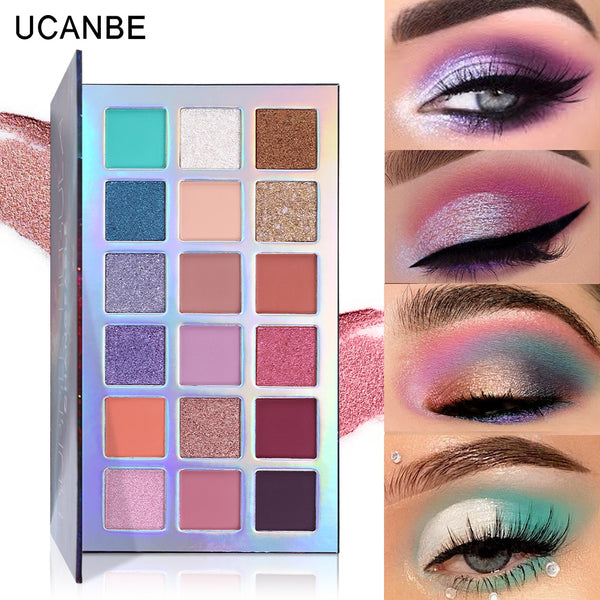 Changeable  Bubble Nebula 18 Colors Eyeshadow Makeup Palette Stunning Multi-reflective Shimmer Glitter Peacock Blue Eye Shadow