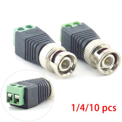 1/10pcs BNC Male Connector Coax CAT5 Adapter Plug Security System Accessories DC Surveillance for CCTV Camera Video Balun K8