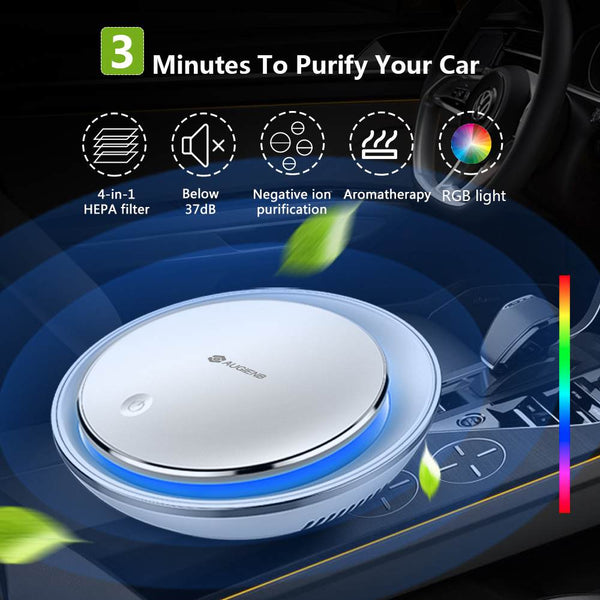AUGIENB Room Car  Purifier HEPA Filter 12V Negative Ions  Cleaner Ionizer  Freshener for Dust Cigarette Smoke Bad Odors