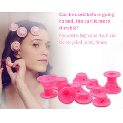 10pcs/set Soft Rubber Magic Hair Care Rollers Silicone Hair Curler No Heat No Clip Hair Curling Styling DIY Tool