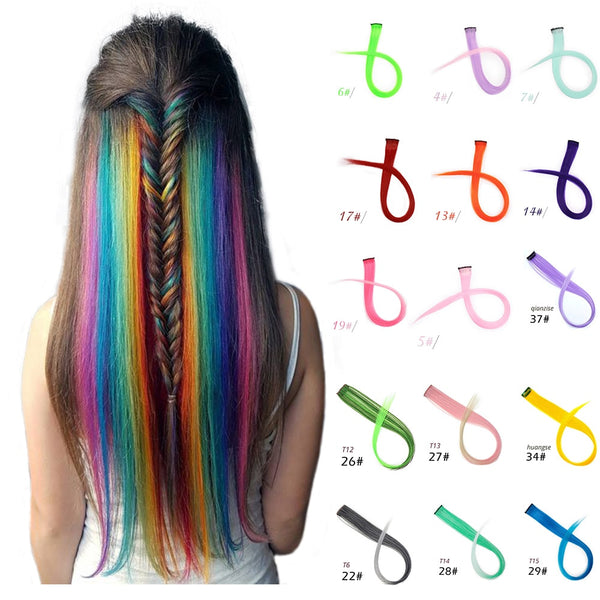 Long Straight  Highlight For Hair Extension color Clip In Rainbow Hair strands Pink Hairpiece Synthetic wig Hair Streak