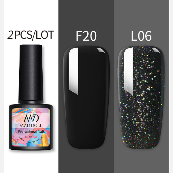 MAD DOLL 8ML Nail Gel Polish Set Black Red Manicure Semi Permanent Vernis UV LED Gel Varnish Soak Off Nail Art Gel Polish