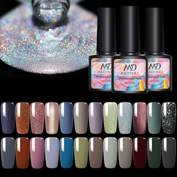 MAD DOLL 8ml Glitter Gel Nail Polish Shimmer Nail Gel Varnish Dazzling Shining Gel Lacquer DIY Nail Art Decorations Manicure
