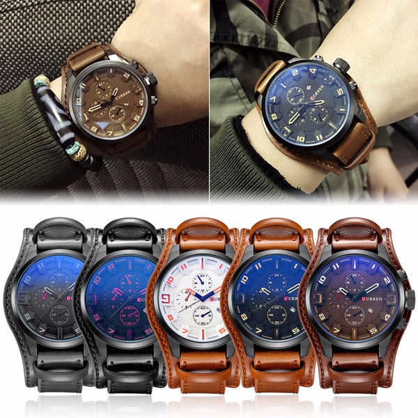 Fashion Casual Men's Watches Top Brand Luxury Business Quartz Watch Faux Leather Date Waterproof Wristwatch Watch Clock Relogio