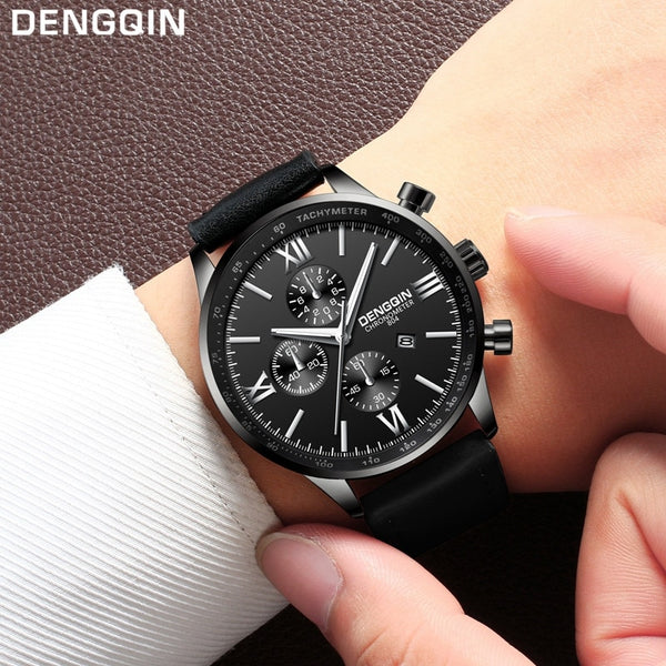 Men's Leather Military Casual Watch Analog Quartz Date Wrist Business Watches