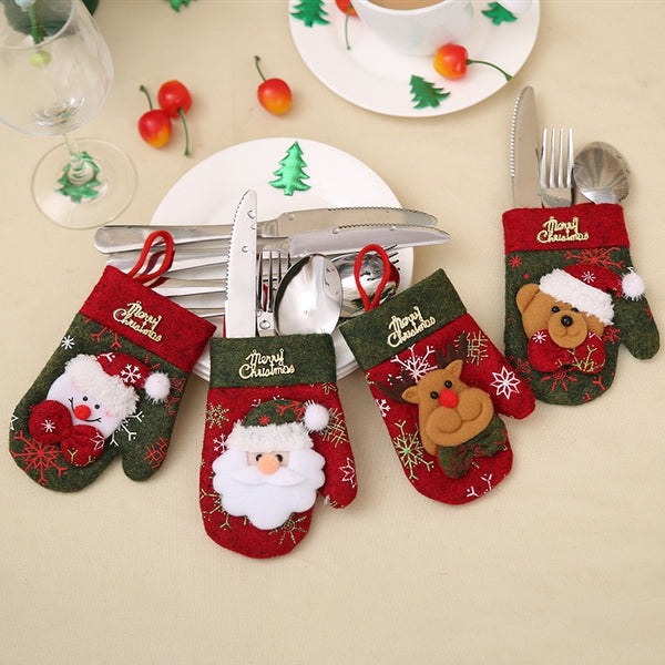 Hot sale Christmas Pocket Fork Knife Santa Hat Reindeer Cutlery Holder Bag Home Party Table Dinner Decoration Tableware