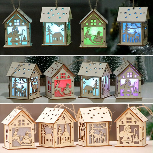 Hot Sale New Fashion Christmas Festival Decoration Christmas Tree Hanging Ornaments Led Light Wood House Holiday Decor Xmas Gift