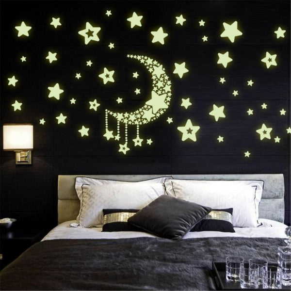 Moon Star Fluorescence Noctilucent Night Glow in Dark Luminous Vinyl Removable Nursery Kids Child Bedroom Wall Stickers