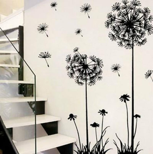 5   Hot black dandelion sitting room bedroom wall stickers household adornment wall stickers on the wall