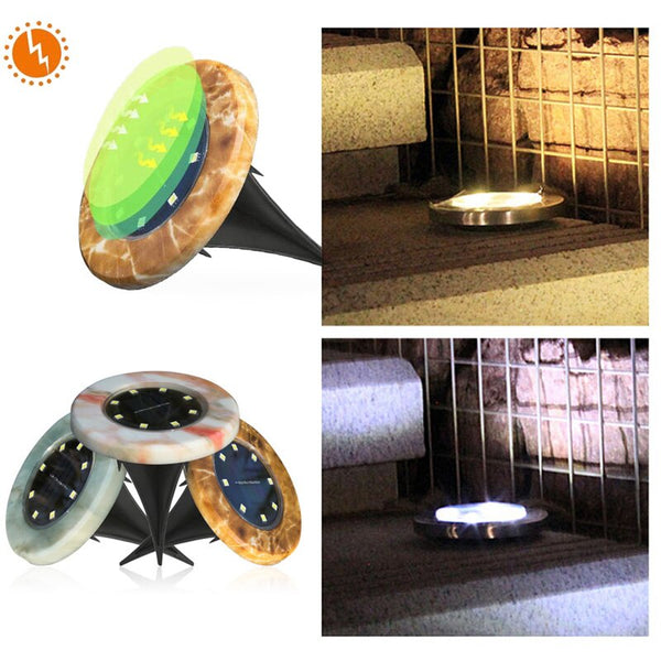 Ground Lamp Buried Light Street Solar Power Disk Lights Landscape Light Security Garden Decking Durable 8LED Walkway Lights