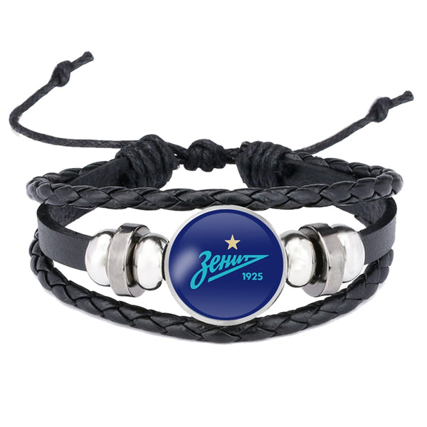 FC Zenit Saint Football Club Logo Leather Bracelet Leagues Logo Soccer Club Bangle For Women Men Fans Gift Dropshipping