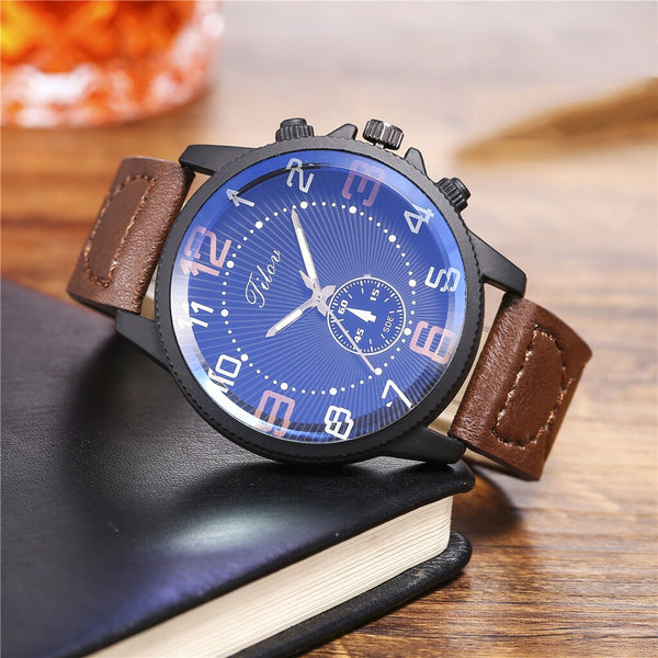 Luxury Band Fashion Men Watches Creative Big Dial Double Scale Belt Men's Quartz Watch Women Gift Watch relogio masculino