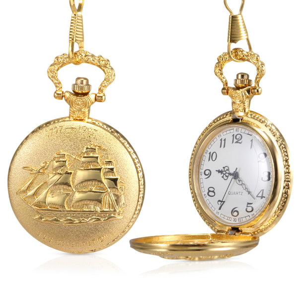 1pc Men Women Quartz Pocket Watch Golden Ship Pattern Carved Case with Chain IK88