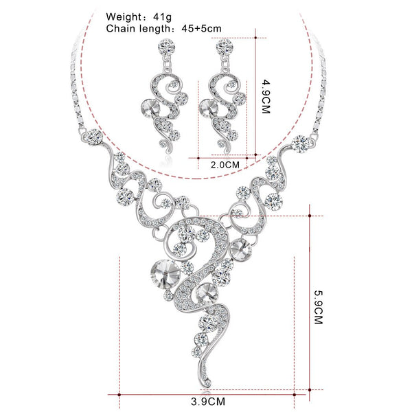 Sweet Hollow out Bride Jewelry Fashion Wedding Dinner Party-Alloy Diamond Set Necklace Earrings Two-Piece Set