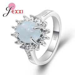 5 Colour Oval Opal Flower Shape 925 Sterling Silver Geometric Ring For Women Female Party Engagement Jewelry Wholesale