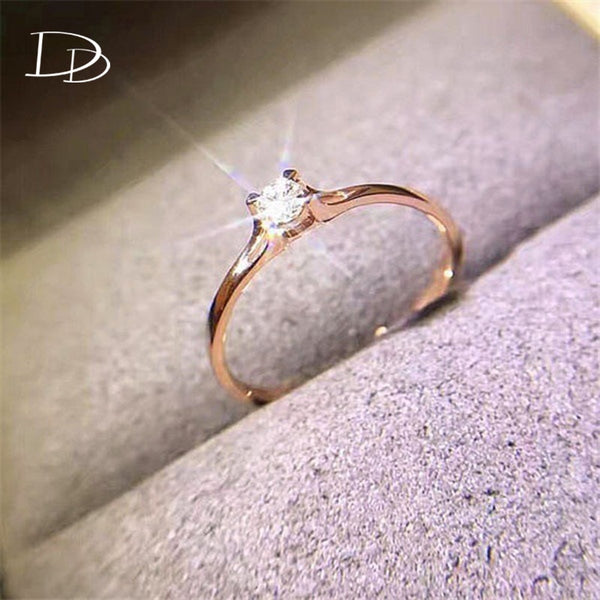 DODO Jewellery stainless steel rings for woman Wedding Engagement Small Cubic Zirconia Ring White/Rose Gold Color anillos DD601