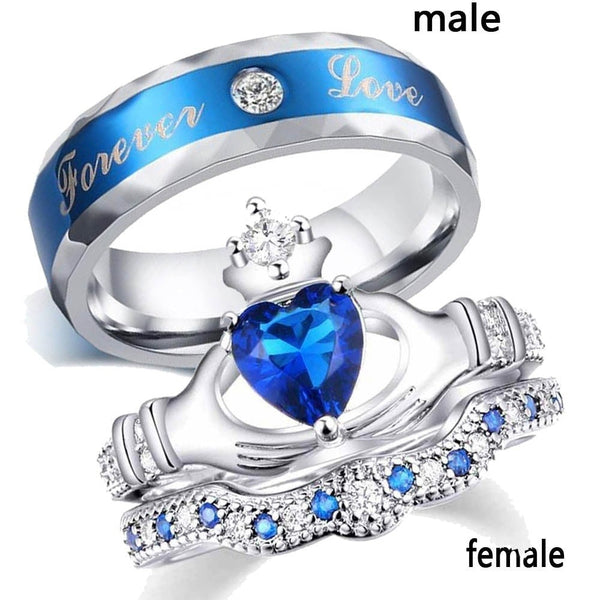 Charm Couple Ring Stainless Steel Blue Men's Ring Blue Zircon Women's Ring Sets Valentine's Day Wedding Bands