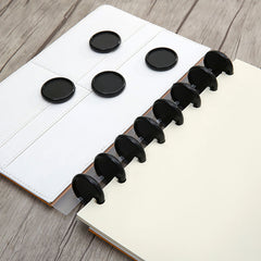 50pcs  Black Mushroom Hole Button Binding Discs Plastic Loose-leaf Coil 360 Degree Foldable  Arc T-shaped hole Office Supplies