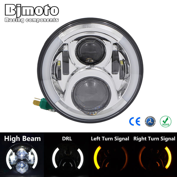 For Harley 7'' Black LED Round Projector Hi/Lo Headlight DRL turn signal indicator light lamp H4 H13 Angel Eye headlamp