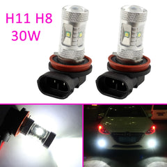 Auto Parts H11 H8 Fog Light Driving LED Bulb 30W Fit For Car Lamp DRL Projector White Trim Accessories