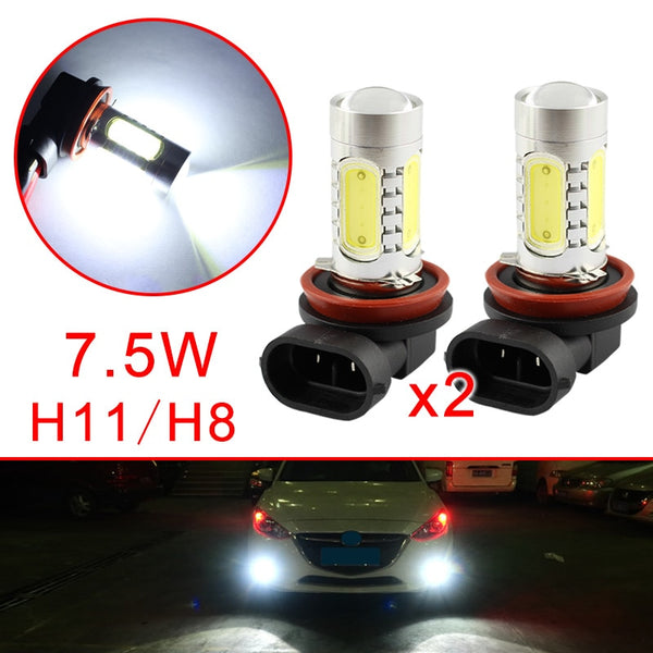 Pair Car LED Bulbs  H11 H8 For Auto Fog Driving Light Lens Projector Lamp Foglight Trim Accessories Parts White Color Style