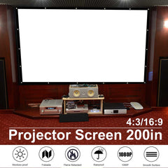 200 inch 16:9/4:3 Portable Projector Screen Curtain Projection Screen For Wall Mounted Home Theater