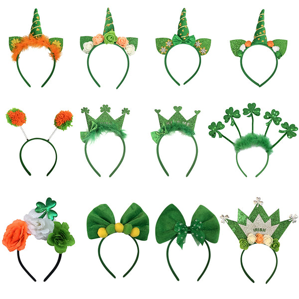 Saint Patrick Headband Ireland Clover Green Party Irish Crown Bow Hair Accessory St Patrick's Day Hairband Party Props