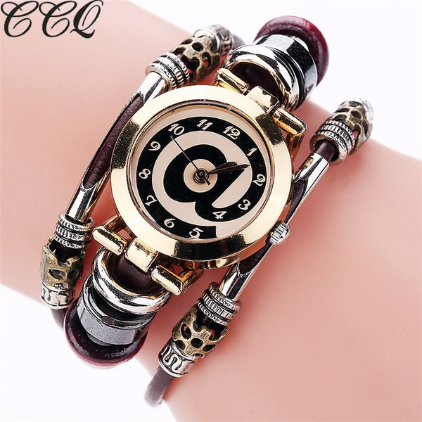 CCQ Brand Fashion Vintage Cow Leather Bracelet Watches Casual Women Crystal Quartz Watch Relogio Feminino Drop Shipping