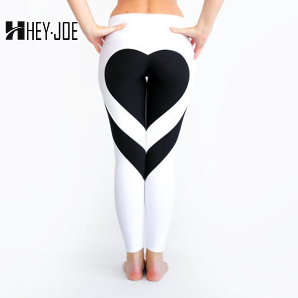 HEYJOE Heart Pattern Mesh Splice Legging Harajuku Athleisure Fitness Clothing Sportswear Elastic Sporting Leggings Women Pants