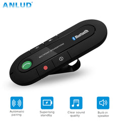 ANLUD Bluetooth Handsfree Car Kit Wireless Bluetooth Speaker Phone MP3 Music Player Sun Visor Clip Speakerphone with Car Charger