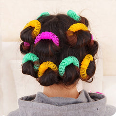 16Pcs Hair Styling Donuts Hair Styling Roller Hairdress Plastic Bendy Soft Curler Spiral Curls Rollers DIY Hair Styling Tools