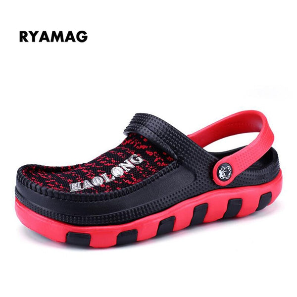 2018 Men's Beach Clogs Air Mesh Sandals Casual Slippers Breathable Classic Clogs and Mules Flat Jelly Garden Shoes Slide