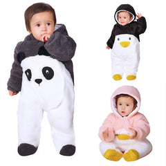 New Baby Cartoon Baby Rompers Winter Warm Kids One-pieces Outdoor Baby Thicken Walking Dress Cute Clothing Babysuit