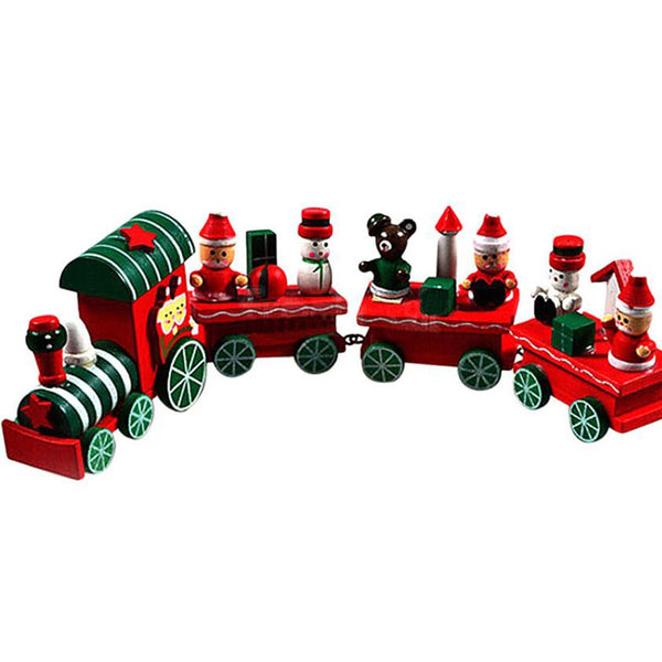 New Sale 1Pc Christmas Little Train Decoration Wooden Train Decor Christmas Ornaments