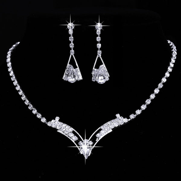 Jewerly Sets Wedding Bridal Set Drop Earring Jewelry Women Sparkling V Shaped Rhinestone Australia Crystal Necklace for Women
