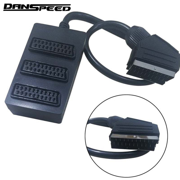 DANSPEED 3 Way Scart Splitter Switch Box Video Cable Male to Female Adapter Connector 3 Devices to  One TV Television