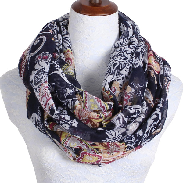 2018 Hot Fashion Loop Shawl Vintage Cashew Blue Print Ring Scarves Women Winter Infinity Scarf Echarpe Foulard Femme 180*80 cm