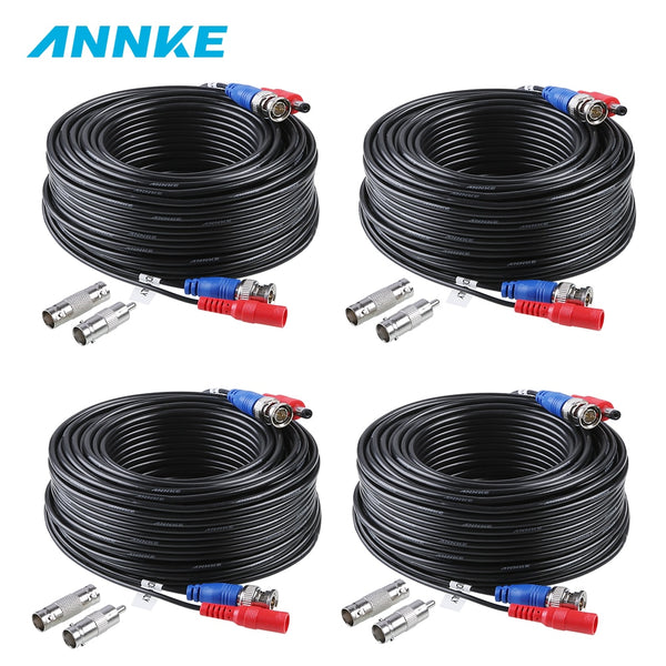 ANNKE 4PCS a Lot 30M 100 Feet CCTV BNC Video Power Cable For CCTV AHD Camera DVR Security System Black Surveillance Accessories