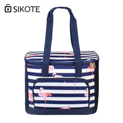 SIKOTE 19L Lunch Bags Canteen Bag Flamingo Storage Portable Lunchbox Thermal Insulated Multi-Function Cooler Bag Fresh Keep
