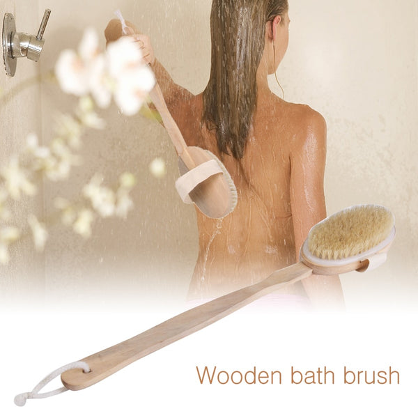 Hot Dry Skin Body Soft Natural Bristle the SPA the Brush Wooden Bath Shower Bristle Brush SPA Body Brush with Long Handle