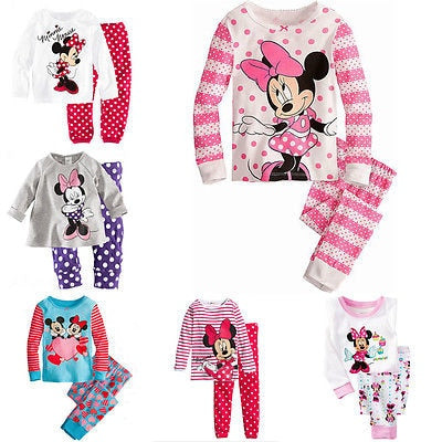 2017 Minnie Cartoon Mouse Baby Toddlers Kids Girls Polka Dots Stripe Nightwear Pajamas Set Sleepwear Homewear Clothing Suit 1-8Y