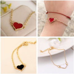 SL01 Charming Red Heart Bracelets & Bangles For Women Girls Gold Color Metal Bracelets Hot Sale Statement Jewelry Wholesale