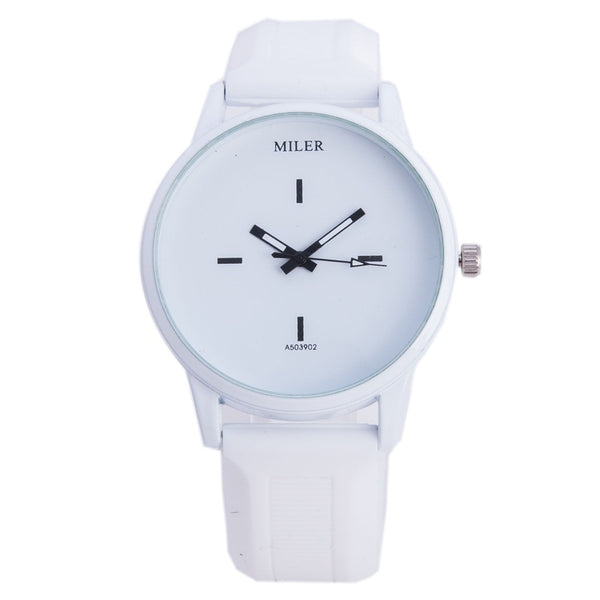 High Quality White&Black Dial Silicone Watches Women Men Students Dress Quartz Wristwatch A503902