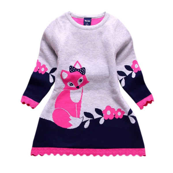 Toddler Baby Kids Clothes Long Sleeve Fox Print Sweater Dress Warm Winter